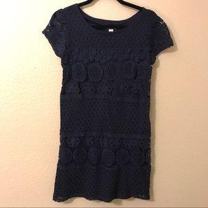 Xhiliration Navy Lace Short Sleeve Shift Dress